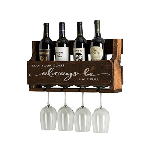 del Hutson Designs The Little Elm Wine Rack w/Quote 'May Your Glass Alway Be Half Full, USA Handmade Reclaimed Wood, Wall Mounted, 4 Bottle 4 Long Stem Glass Holder (Walnut) by del Hutson Designs