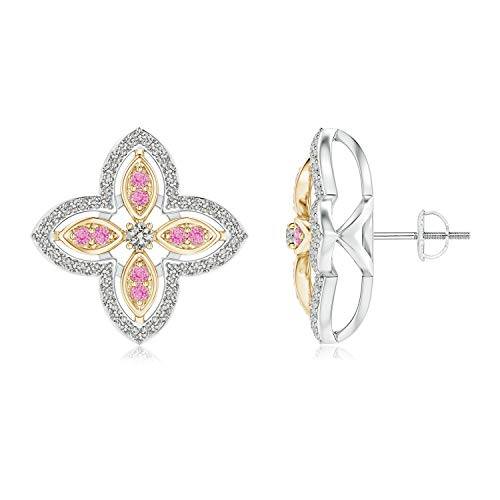Floral Pink Sapphire Earrings - Diamond & Pink Sapphire Halo Two Tone Floral Earrings in 14K White & Yellow Gold (2mm Diamond)
