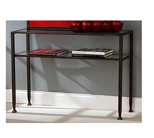 Modern Black Console Table - This Small Table Is Prefect for Your Living Room, Bedroom, Entryway, Hallway or Foyer - It Is Made of Glass and Metal - It Has Rectangular Shape and One Storage Shelf Where You Can Store Books, Magazines, Cd-s and Many More - You Can Place This Beautiful Narrow Wooden Console Table in Any Corner of Next to Your Sofa - It Has 1 Year Limited Warranty (Glass Shelves Narrow)
