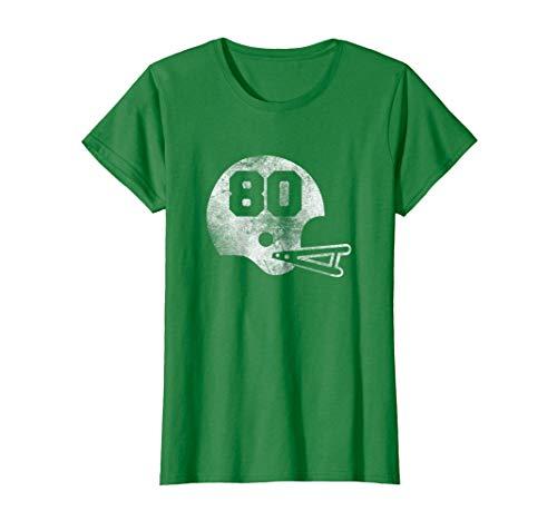 Ladies Vintage Football Jersey - Womens Vintage Football Jersey Number 80 T-Shirt Player Number XL Kelly Green