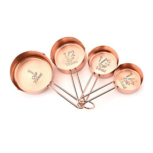 Tebatu 4 Pieces Stainless Steel Measuring Cups, Big Capacity Coffee Cake Kitchen Tools Rose Golden by Tebatu