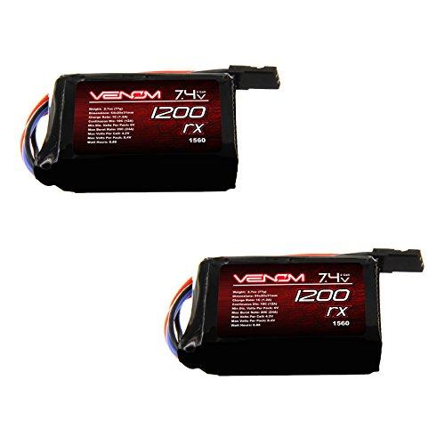 Venom 10C 2S 1200mAh 7.4 Hump Receiver LiPo Battery x2 (Lipo Receiver Battery)