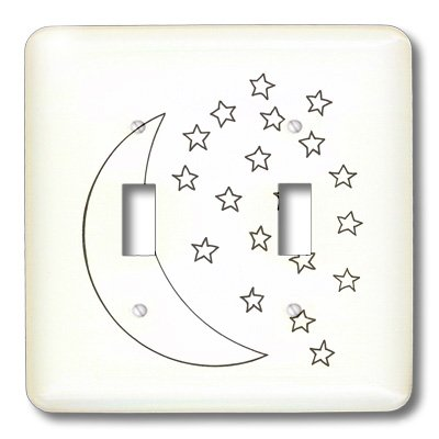 3dRose LLC lsp_20937_2 Moon and Stars Outline Art Drawing Double Toggle Switch ()