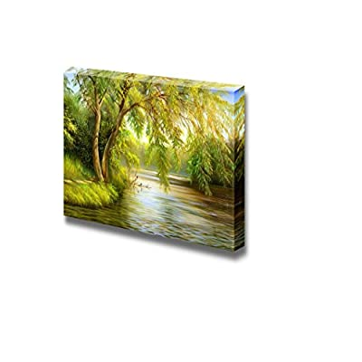 Canvas Prints Wall Art - Summer Wood Lake with Trees and Bushes - 24