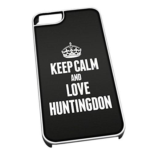 Bianco Custodia protettiva per iPhone 5/5S 0349NERO Keep Calm e Love Huntingdon