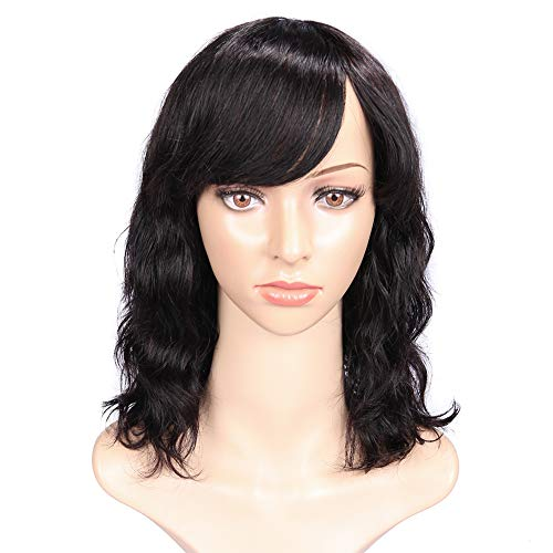 WIGNEE 100% Virgin Human Hair Natural Wave Wigs with Bangs Brazilian Human Hair Wave Wigs Natural Black Color (10 Inch)