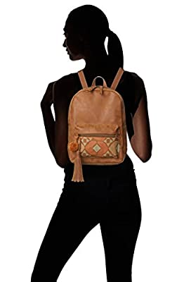 T-Shirt & Jeans Dome Back Pack with Puff Print and Pom Pom Tassel