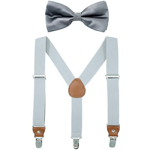 Child Boys Adjustable Silk Bowties & Suspender Sets Y Back Metal Clips Genuine Leather Suspenders (Gray + Dark grey bowtie)
