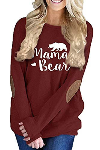 Pink Queen Womens Wine Red Long Sleeve Mother Bear Printing Blouse Top Ruby M ()