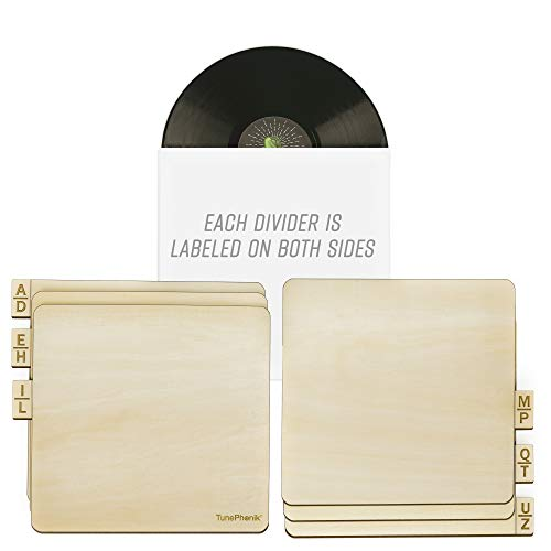 TunePhonik Two-Sided Laser Etched Wooden Record Dividers to Organize 12 Vinyl LPs, Set of Six