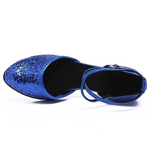 Fond Jazz Samba slip Chaussures Du Sandales Bleu Dames Non Sequin Latine En 39 Salon Avec Cuir Modernes De Cheville Souple Danse Adultes Sangle Byle vRfwqYY