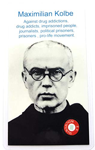 relic card 3rd Class Saint Maximillian Kolbe Patron of Narcotics Anonymous Users Dependence Drug Addicts NA Addiction Family Journalist Prison Jail Prisoner Pro-Life Movement Auschwitz WWII