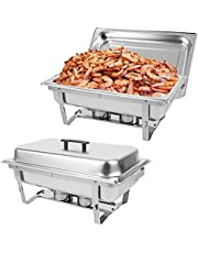 Restlrious 8 QT Chafing Dish Buffet Set Stainless Steel Foldable RectangularChafer Full Size w/Water Pan, Food Pan, Fuel Holder and Lid