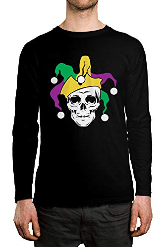 SpiritForged Apparel Mardi Gras Skull Jester Men's Long Sleeve Shirt, Black XL]()