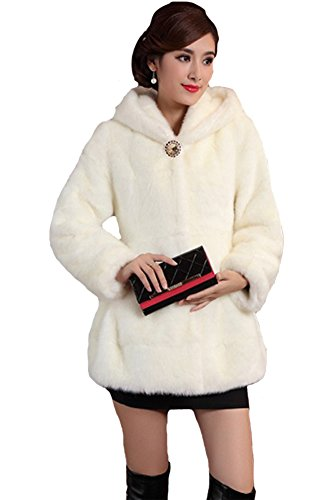 Queenshiny New Style Women's Mink Velvet Warm Coat Jacket with Hood-White-M(8-10) by Queenshiny