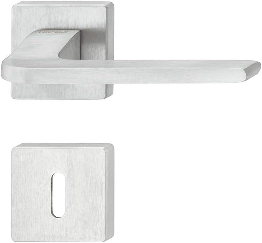 1 Set WC Toilette JUVA Dr/ückergarnitur Messing T/ürbeschlag Chrom matt T/ürgriff Zimmert/ür LDH 3235 Design T/ürdr/ücker-Garnitur f/ür Innent/üren mit Schrauben Dr/ücker-Paar mit eckiger Rosette