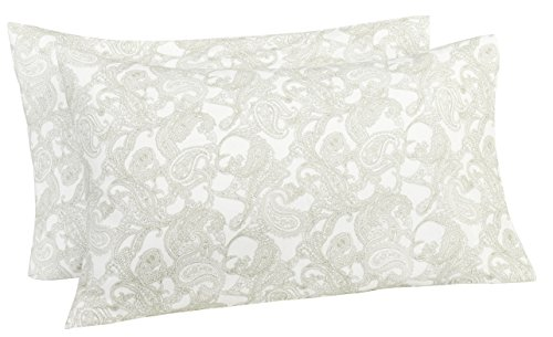 Pinzon 170 Gram Flannel Pillowcases - Standard, Sage - Pillowcase Standard Paisley