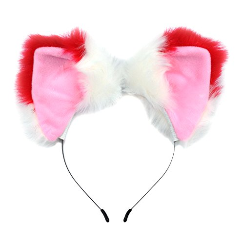 Ears Headband Cat Fox Kitten Fur Ears Hair Bands Anime Party Costume Kitty Cosplay Headband For Halloween Christmas or Kitten Theme Party Costume (Red and White) ()