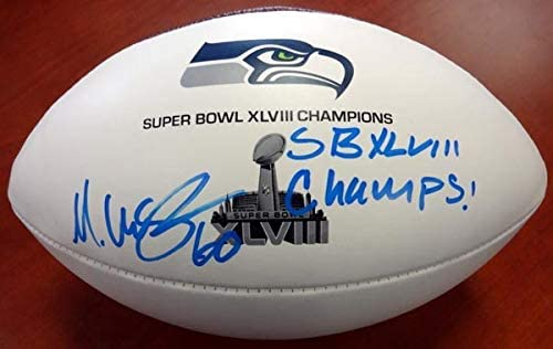 MAX UNGER AUTOGRAPHED WHITE SUPER BOWL LOGO FOOTBALL SEATTLE SEAHAWKS'SB XLVIII CHAMPS' MCS HOLO STOCK #76376