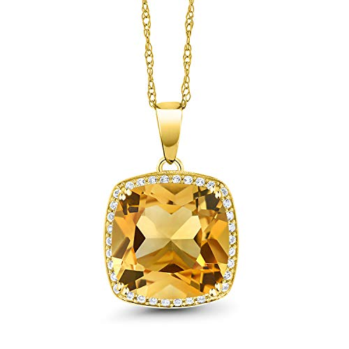 Gem Stone King 10K Yellow Gold Yellow Citrine and White Diamond Pendant Necklace 6.09 Cttw Cushion Cut with 18inches Chain