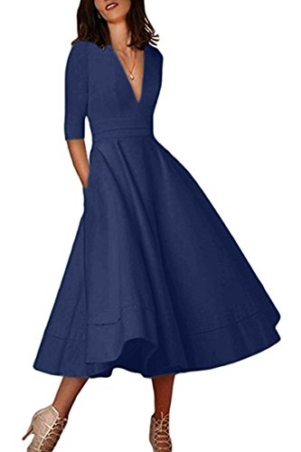 Maxi Dress 1960s - YMING Ladies Wedding Dress Evening Maxi Dress Solid Color Dress Long Retro Dress Navy Blue S