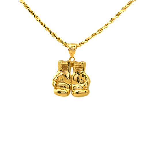 - LoveBling 10k Yellow Gold High- Polished Boxing Gloves Charm Pendant (1.44