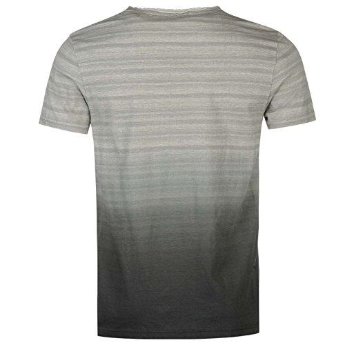 SoulCal Herren Dip Dye T Shirt Kurzarm Rundhals Ungesaeumter Ausschnitt Logo Grau Aop UK Small