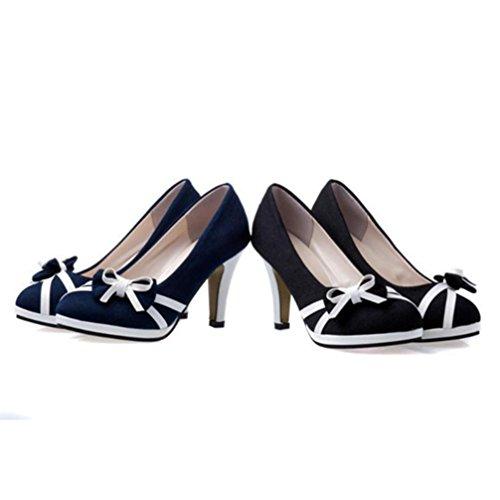 Upxiang Frauen Bowknot Shallow High-Stöckelschuhe Spring Round Toe Schuhe Damen High Heels Stiefel Schwarz