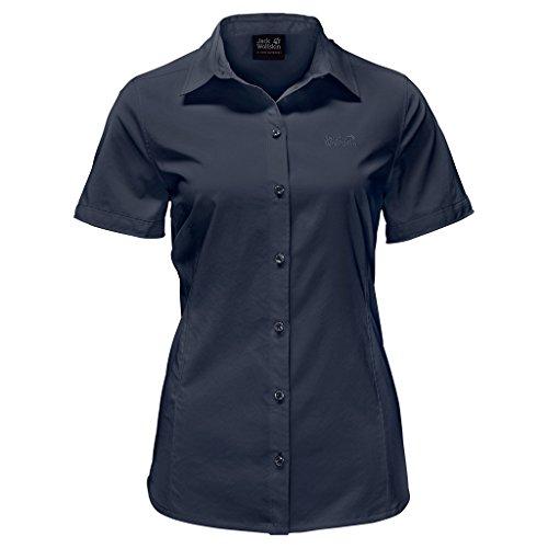 Jack Wolfskin Womens/Ladies Sonora Short Sleeve Button Travel Shirt azul medianoche
