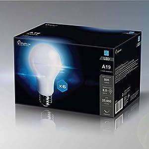 Xlight.ca Led Light Bulbs A19 E26, 60 Watt Equivalent, Dimmable LED Bulb, Energy Star, UL-Listed, Pack of 6 (Daylight 5000K)