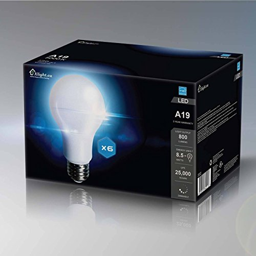 Xlight.ca Led Light Bulbs A19 E26, 60 Watt Equivalent, Dimmable LED Bulb, Energy Star, UL-Listed, Pack of 6 (Daylight 5000K)