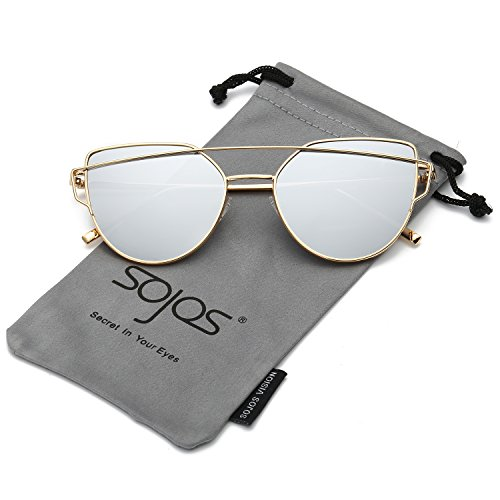 Sunglasses (SojoS Cat Eye Mirrored Flat Lenses Street Fashion Metal Frame Women Sunglasses SJ1001 With Gold Frame/Silver Mirrored Lens)