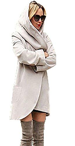 CoCo fashion Women's 2017 Winter Woolen Long Hooded Coat Casual Jackets Warm Slim Overcoat Outwear (Large, Light Grey)