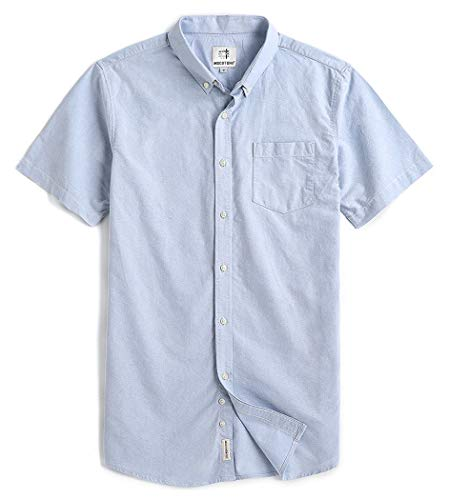Men's Short Sleeve Oxford Button Down Casual Shirt Light Blue XX-Large ()