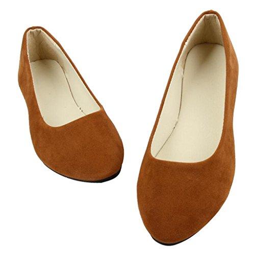Lieber Zeit Frauen Flache Schuhe Bequeme Slip on Spitz Ballerinas Gelb 38