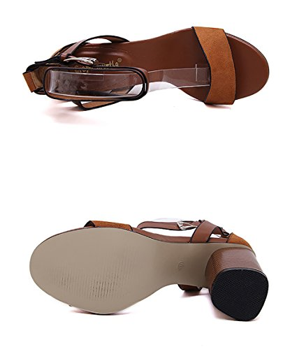 Da Sandali Women Vacation GFYDC Roman Parola Con Con Fibbia Rough Root Tacco Sandali Donna Alto Shoes Brown Per qxI8Cwx7v