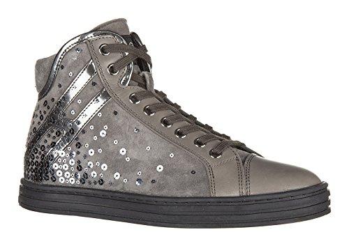 Hogan Rebel chaussures baskets sneakers hautes femme en cuir rebel r182 over pai
