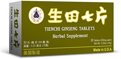 Tienchi Ginseng Tablets Herbal Supplement Helps for Promote Circulation The Body s General Well Being 500mg 30 Tablets Made in USA