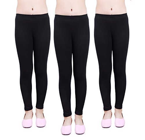 IRELIA Girls Leggings 3 Pack Cotton Solid Size 4-16 Spring/Fall 01 M