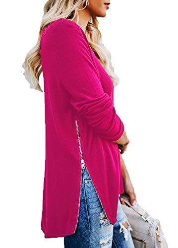 - Womens Shirts Casual Tee Shirts V Neck Long Sleeve Zip Up Loose Fits Tunic Tops Blouses M, Fuchsia