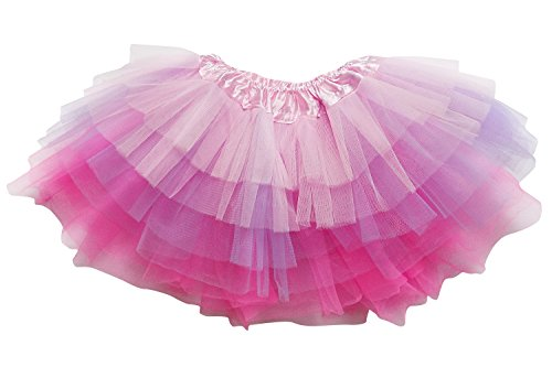 So Sydney Adult Plus Kids Size 6 Layer Fairy Tutu Skirt Halloween Costume Dress (M (Kid Size), Pink Lavender Neon Pink) -