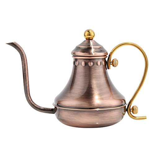 MonkeyJack Vintage Hand Drip Coffee Gooseneck Spout Drip Pot Silver/Copper/Rose Gold - Antique Copper, 12.5x9cm (Antique Copper Cookware)