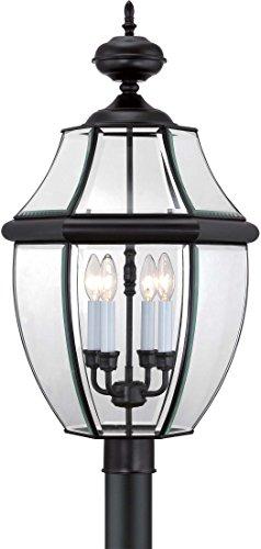 (Quoizel NY9045K Newbury Outdoor Post Lantern Pier Mount Lighting, 4-Light, 240 Watts, Mystic Black (30