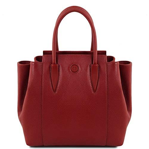 À En Cuir Rouge Bleu Tuscany Sac Foncé Main Leather Tulipan wgxS6qt