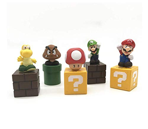 Astra Gourmet Super Mario Brothers Birthay Cake Topper, Super Mario Bros Action Figures, Mini Super Mario Bros Figures Bundle Including Mario, Luigi, Mushroom, Goomba, Koopa Troopa, Set of 5