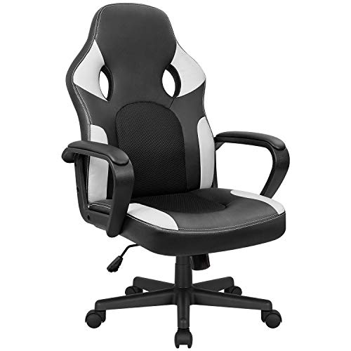Kaimeng Office Chair Gaming Ergonomic Chair High Back Leather Adjustable Desk Chair Executive Computer Racing Chair White