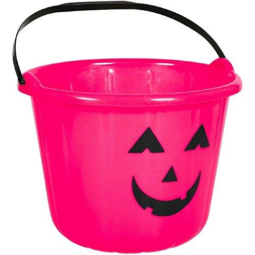 Sweet Treats Halloween Pumpkin Bucket ‑ Pink Party Favour, Plastic, 6