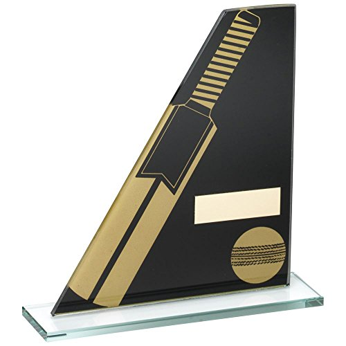 Lapal Dimension BLACK/GOLD PRINTED GLASS PLAQUE WITH CRICKET BAT/BALL TROPHY - 5.75in by Lapal Dimension