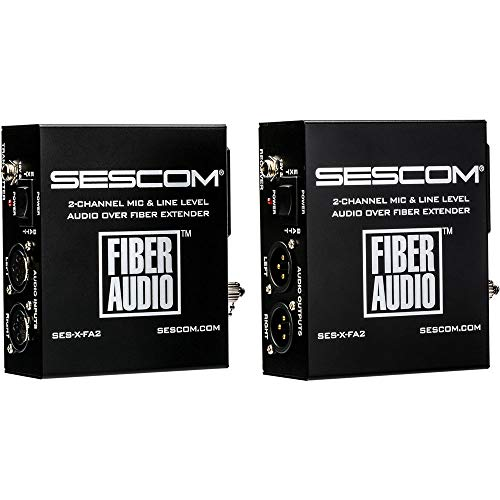 Sescom SES-X-FA2 Portable Battery Powered 2-Channel Mic & Line Level Audio Over Single Fiber Extender Kit