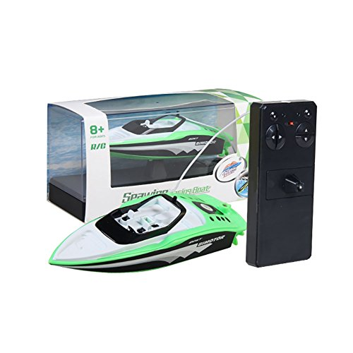 Leoie RC Boat Create Toys 3392M Portable Micro RC Racing Boat Remote Control Speedboat Boy Gift Kid Toy Green
